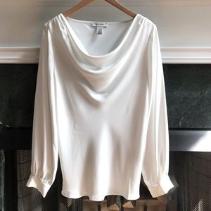 WHBM   Drape Neck Long Sleeve Top Button Sleeves